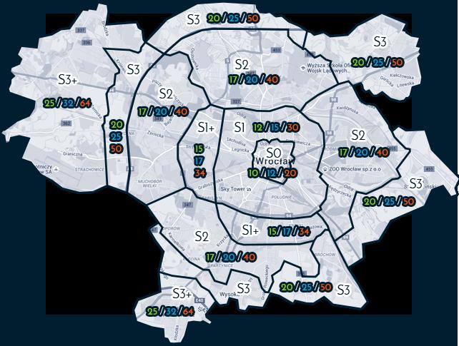 Kurier Rowerowy Wrocław - Podział Strefowy